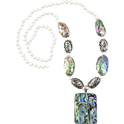 Abalone Cultured Pearl and Sterling Silver Necklace 28""