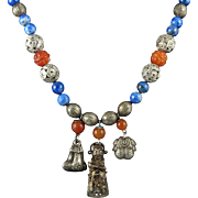 """Chinese Silver Charm Necklace with Lapis and Carnelian 28"""""""