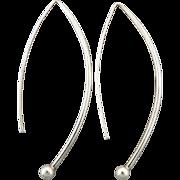 Bold Sterling Silver Modernist Design Earrings