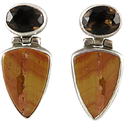 Petrified Wood and Smoky Quartz Sterling Door Knocker Style Earrings Signed