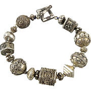Heavy Ornate Silver Bead Bracelet