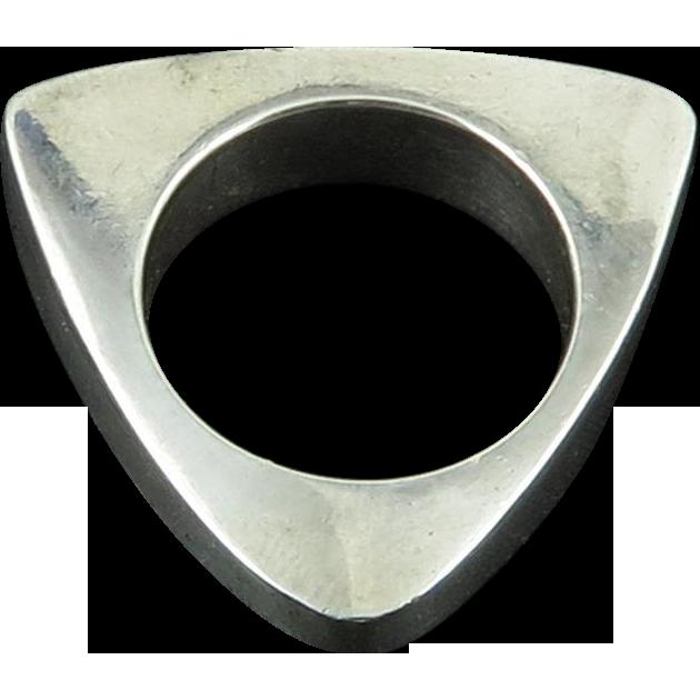 Modernist Designer Solid Heavy Silver Ring or Pendant