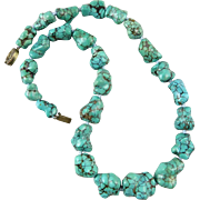 Chinese Natural Spider Web Turquoise Big Carved Knuckle Bone Bead Necklace 19""