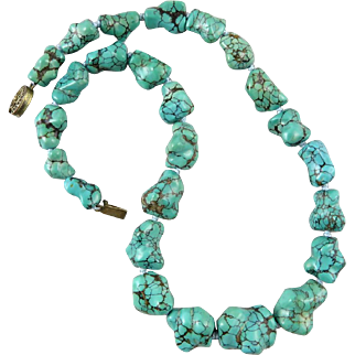 """Chinese Natural Spider Web Turquoise Big Carved Knuckle Bone Bead Necklace 19"""""""