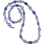 """Kyanite Rose Lavender Chalcedony and Chinese Enamel Bead Necklace  32"""""""