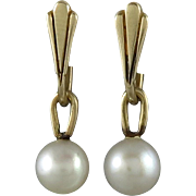 14K Cultured Pearl Dangle Charm Earrings