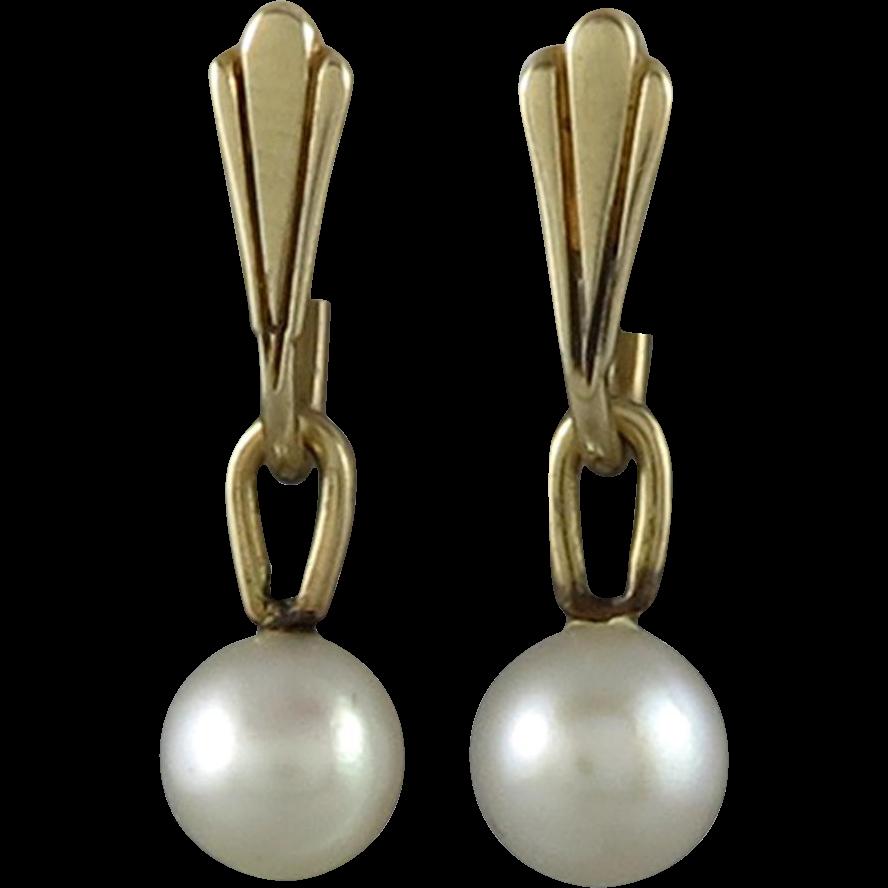 14K Cultured Pearl Dangle Charm Earrings