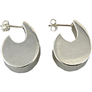 Puffy Sterling Comma Shaped Earrings
