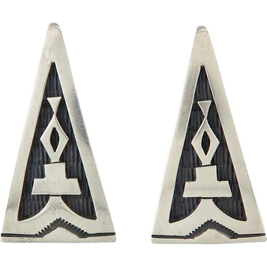 Navajo Sterling Silver Overlay Symbol Sand Cast Earrings Signed