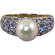 14K Tanzanite South Sea Cultured Pearl Ring