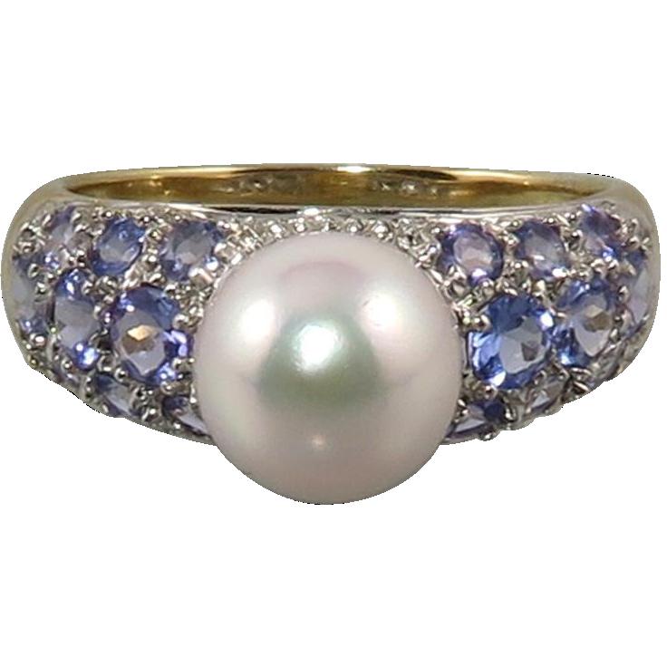 Pearl Tanzanite: 14K Tanzanite South Sea Cultured Pearl Ring From