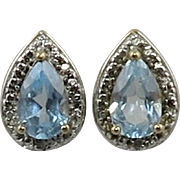 Blue Topaz and Diamond 14K Vermeil Pear Cut Earrings