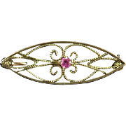 Edwardian Pink Tourmaline and 10K Delicate Brooch