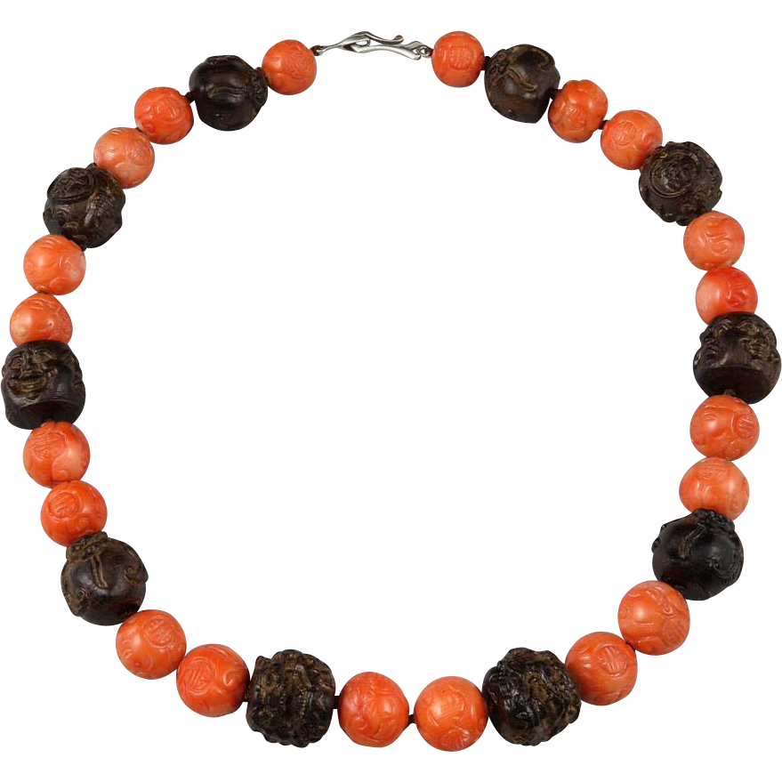 chunky carved coral and wood bead necklace 22 quot from