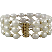 Gorgeous 14K 3 Strand Cultured Pearl Bracelet