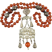 Qing Dynasty Silver Double Foo Dog Carnelian Necklace 31""