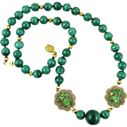 Chinese Malachite and Enamel Frog Gilt Silver Necklace 24""