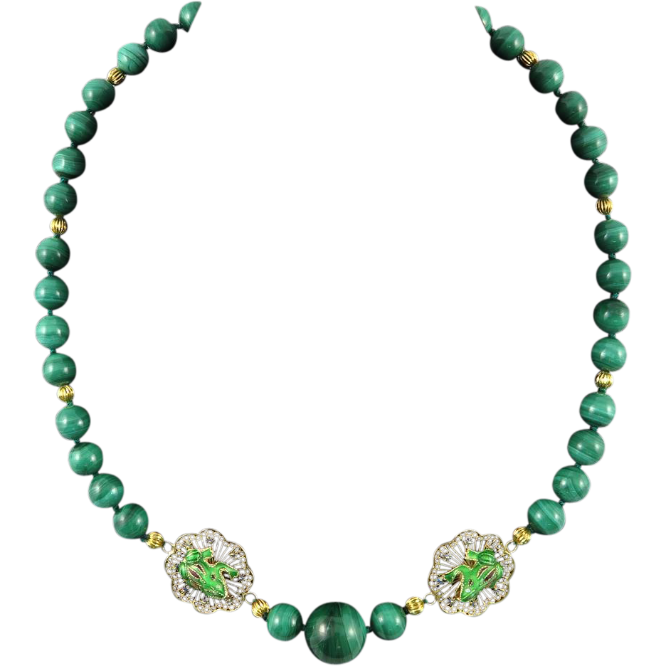 """Chinese Malachite and Enamel Frog Gilt Silver Necklace 24"""""""