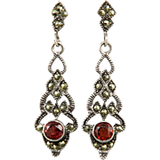 Garnet and Marcasite Sterling Silver Dangle Earrings