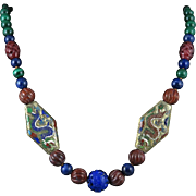 """Chinese Blue and Red Dragon with Lapis Malachite and Red Jasper Necklace 29"""""""