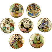 Meiji Period Japanese Satsuma 7 Gods of Fortune Button Set