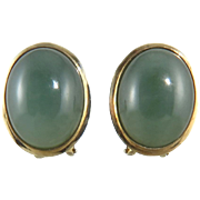 14K Translucent Green Jade Omega Back Earrings c1965