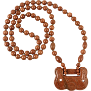 Chinese Carved Red Goldstone Lock Necklace 30""