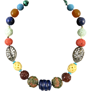 Chinese Carved Trade Bead Necklace
