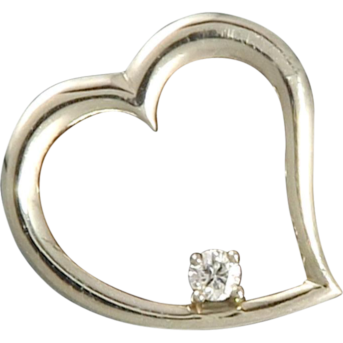 1/4ct Diamond and 14K White Gold Large Open Heart Pendant