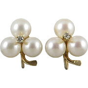 14K Diamond and Cultured Pearl Earrings Mid Century