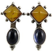 Amber and Iolite Sterling Silver Earrings
