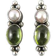 Peridot and Cultured Pearl Sterling Silver Earrings
