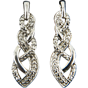 Diamond and Sterling Silver Pendant Shaped Earrings