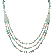 Beautiful Green Aventurine and Rose Quartz Multi-Strand Necklace 34""