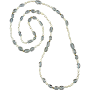 "14K Aquamarine and Freshwater Cultured Pearl Long Strand Necklace 32"" 100+ carats"