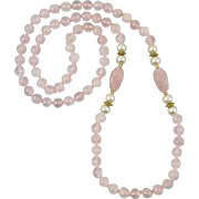 Rose Quartz and Faux Pearl Necklace 32""