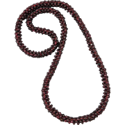 Garnet Rope Woven Style Necklace 26""