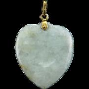 14K Jade Heart Pendant