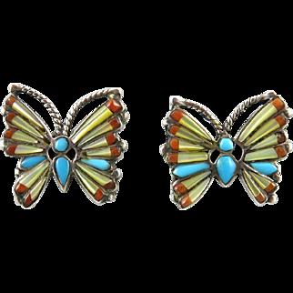 Stunning Gemstone Inlay Butterfly Sterling Silver Earrings