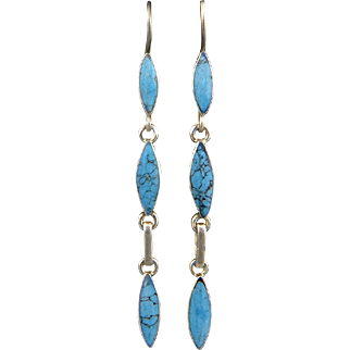 Long Turquoise and Sterling Silver Dangle Earrings