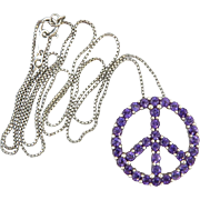 Amethyst and Sterling Silver Peace Symbol Pendant Necklace