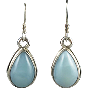 Larimar and Sterling Silver Teardrop Dangle Earrings