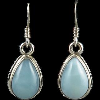 Larimar and Sterling Silver Teardrop Dangle Earrings