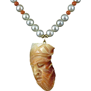 Rare Blood Tridacna Carved Chinese General Guan Yu Pendant Necklace 18""