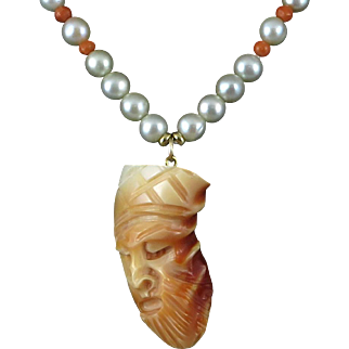 """Rare Blood Tridacna Carved Chinese General Guan Yu Pendant Necklace 18"""""""