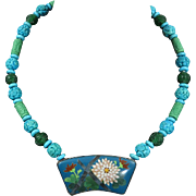 Japanese Chrysanthemum and Bamboo Cloisonne Pendant with Carved Turquoise Necklace 22""