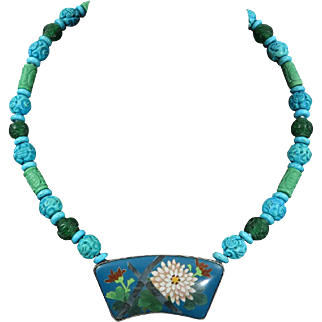 """Japanese Chrysanthemum and Bamboo Cloisonne Pendant with Carved Turquoise Necklace 22"""""""