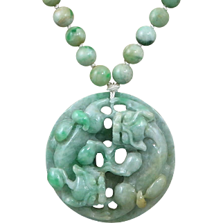"""Spectacular Chinese Carved Jade Double Kylin Necklace 23"""""""