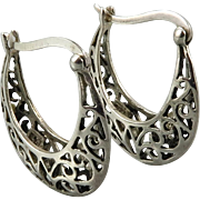 Sterling Silver Open Work Hoop Earrings