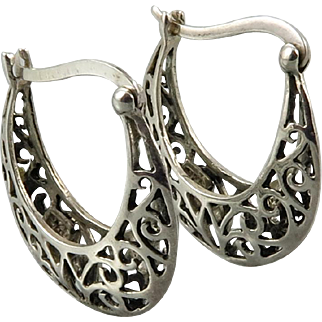 Sterling Silver Open Work Hoop Earrings